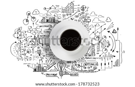 Conceptual image of cup of coffee with business sketches at background - stock photo