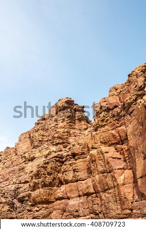 Conceptual image of geology of Jordanian mountains - stock photo