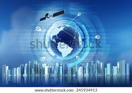 Conceptual image of Global Positioning System GPS with futuristic city background - stock photo