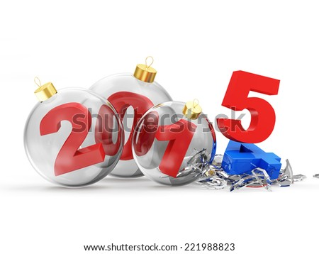 Conceptual image of Happy New Year. Glass Christmas Balls 2015 isolated on white background - stock photo