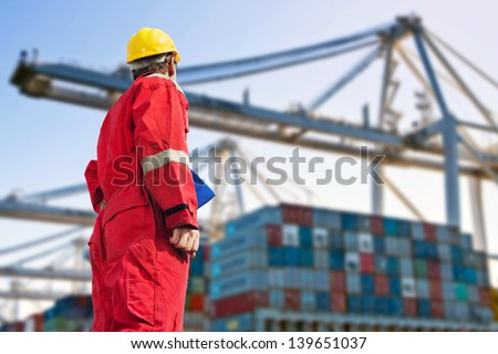 Conceptual image of international logistics, featuring a docker, looking at the unloading of a container ship by huge cranes in the distance - stock photo