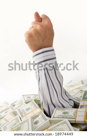Conceptual image of male?s hand showing fig out of dollar bills - stock photo