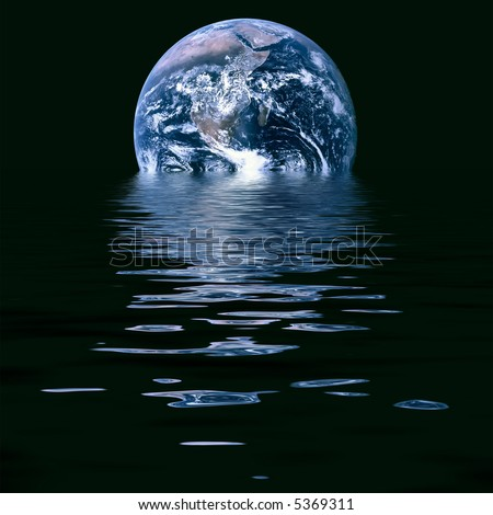 Conceptual image of melting earth symbolic of global warming and climate change. Source image courtesy of NASA - stock photo