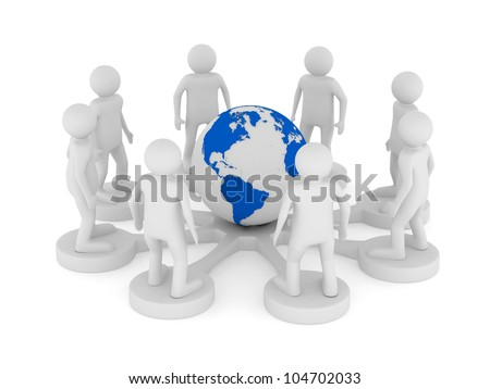 Conceptual image of teamwork. Isolated 3D on white - stock photo