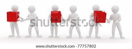 Conceptual image of teamwork. Men with boxes. 3d - stock photo
