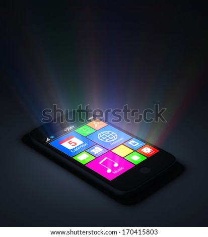 Conceptual Image of Touchscreen Smart Phone with Glowing Rays - stock photo