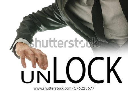 Conceptual image of Unlock versus Lock with the hand of a businessman poised above the text above the letters UN as though changing the context, isolated on white. - stock photo