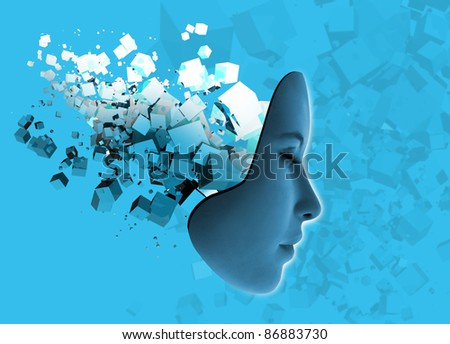 Conceptual image of woman's face and abstract technology. - stock photo