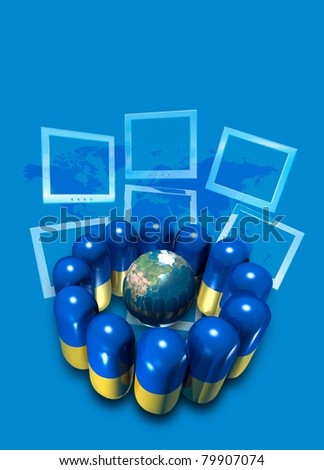 conceptual image on the sales of pharmaceuticals worldwide via the internet - stock photo