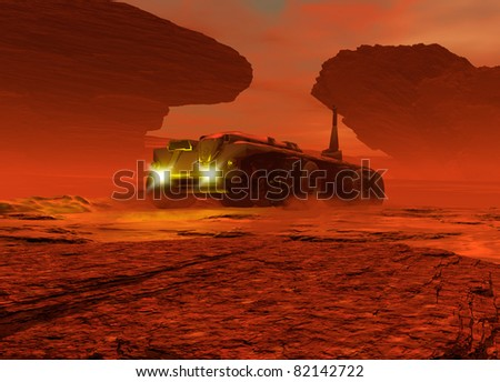 Conceptual image showing a large vehicle moving over the surface of the planet Mars - stock photo