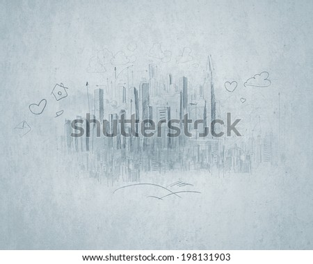 Conceptual image with construction pencil sketches on white backdrop - stock photo