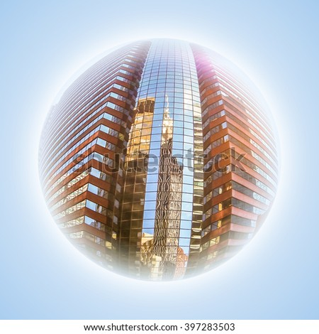 Conceptual image with fisheye effect and globe effect. Representative image of the heart of Manhattan and business finance. Modern stained glass windows of buildings, New York city, USA. - stock photo