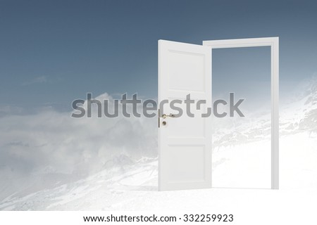Conceptual image with opened doors as new way entrance to new world - stock photo