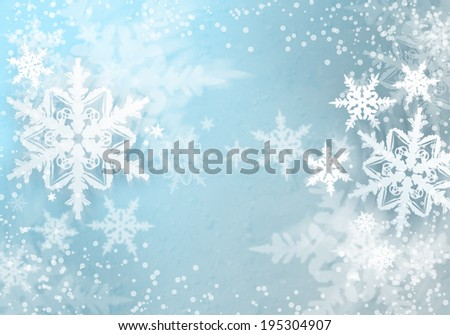Conceptual image with snowflakes on blue background - stock photo