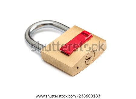 conceptual isolated padlock with usb flash disk - stock photo