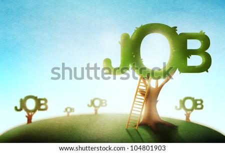 Conceptual Job Market Illustration. Trees and Ladders on an Outdoor Scene Drawing. - stock photo