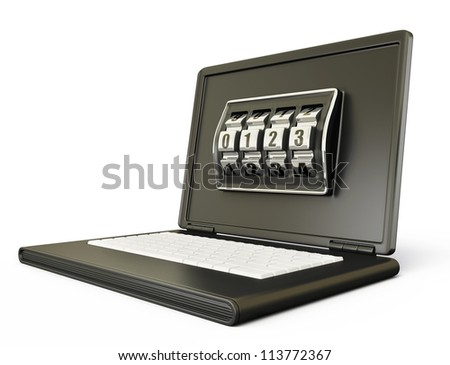 conceptual laptop isolated on a white background - stock photo