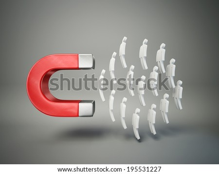 conceptual magnet isolated on a grey background - stock photo