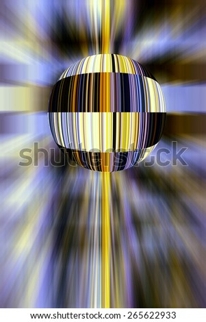 Conceptual multicolored abstract of a planet enveloped in barcodes, with surrounding radial blur, for themes of business, standardization, technology, and future means of shopping and identification - stock photo