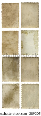 Conceptual old vintage dirty, grungy paper background set, collection isolated on white background ideal for antique, grunge, texture, retro, aged, ancient, dirty, frame, manuscript, material designs - stock photo