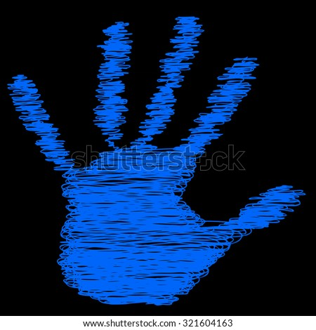 Conceptual painted drawing hand shape print or scribble isolated on black paper background for handmade or manual, art, line, children, scribble, education, grungy or sketch design, made by a child - stock photo