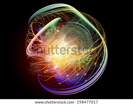 Conceptual Particle series. Design made of fractal and conceptual elements to serve as backdrop for projects related to science, information technology and design - stock photo