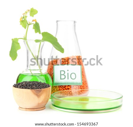 Conceptual photo of bio fuel from lentil.  Isolated on white - stock photo