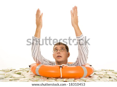 Conceptual photo of man asking for help with raised arms and begging expression on face - stock photo