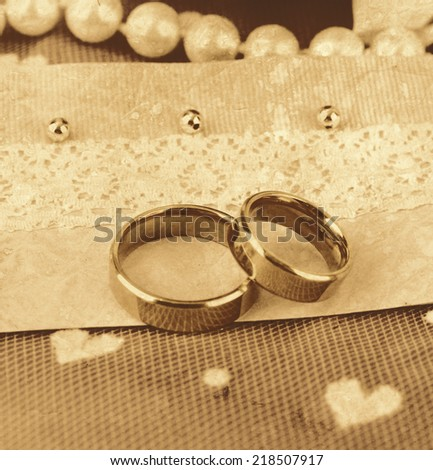 Conceptual photo: wedding in brown color style - stock photo