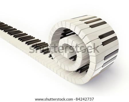 conceptual piano keys isolated on white - stock photo