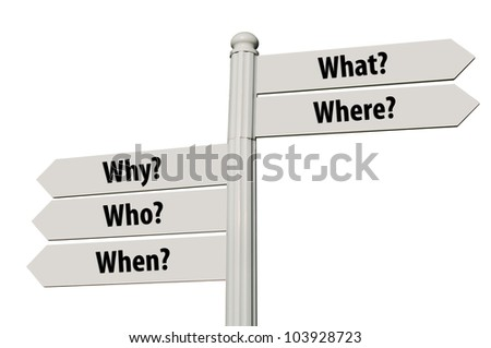 conceptual picture of a signpost with the five Ws isolated on white background (all signs cleaned) - stock photo