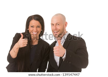 Conceptual portrait of two businesspeople showing their thumbs up - stock photo