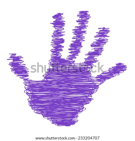 Conceptual purple painted drawing hand shape print isolated on white paper background, for handmade or manual, art, line, children, scribble, education, grungy or sketch design, made by a child - stock photo