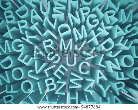 conceptual randomize  letters in blue colors - stock photo