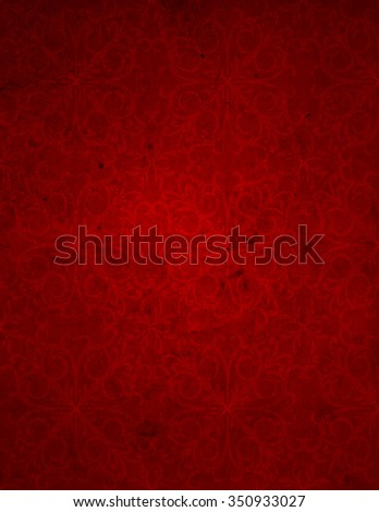 Conceptual red old paper background, made of grungy or vintage texture stained or dirty surface banner ideal for holiday, Christmas, decoration retro design with a pattern, decoration ornament printed - stock photo