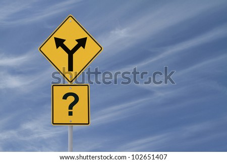 Conceptual road sign on choices or making decisions (with copy space) - stock photo