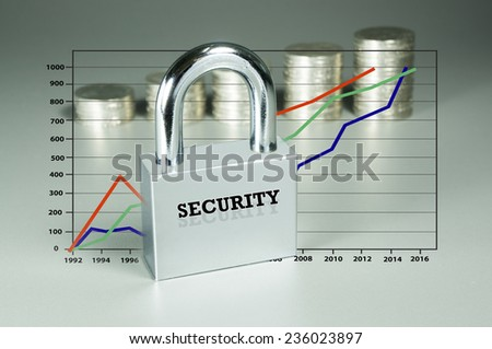Conceptual  security of Investment isolated on grey background - stock photo