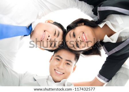 Conceptual shot of a business team working in unity - stock photo