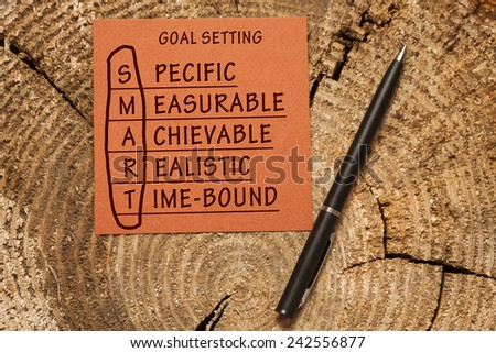 Conceptual SMART Goals acronym on piece of wood with pen (Specific, Measurable, Achievable, Realistic, Time-bound)  - stock photo