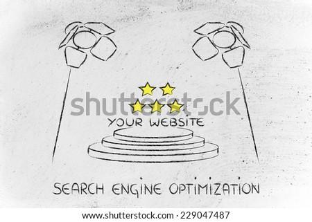 conceptual spotlight illustration about search engine optimization - stock photo