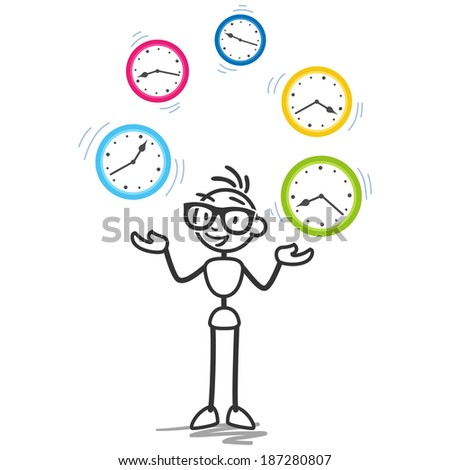 Conceptual stick figure illustration: Stickman juggling with clocks symbolizing time management, productivity, planning and scheduling. - stock photo