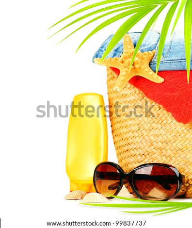 Conceptual summer fun border, beach items isolated on white background, summertime tropical vacation and travel, women's accessories for outdoor relaxation, holidays - stock photo