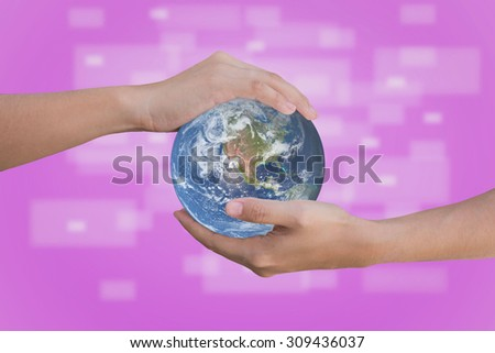 "Conceptual symbol human hands surrounding the Earth globe. ""Elements of this image furnished by NASA"" - stock photo"