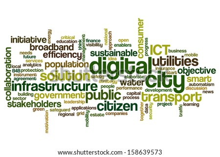 Conceptual tag cloud containing words related to digital city, smart city, infrastructure, ICT, efficiency, energy, sustainability, development and other ICT related terms  - stock photo
