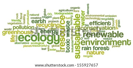 Conceptual tag cloud containing words related to ecology, environment, pollution, renewable resources, recycling, conservation, efficiency... - stock photo