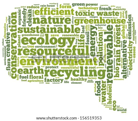 Conceptual tag cloud containing words related to ecology, environment, pollution, renewable resources, recycling, conservation, efficiency in the form of a callout on white background, pointing right - stock photo