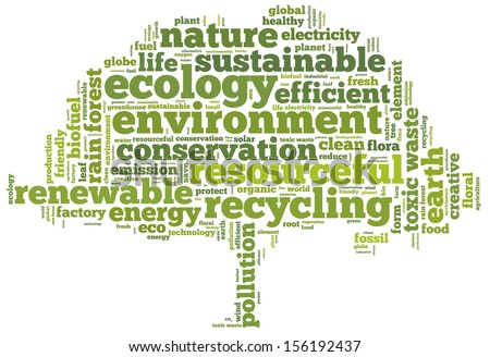 Conceptual tag cloud in the shape of the green tree containing words related to ecology, environment, pollution, renewable resources, recycling, conservation, efficiency... - stock photo