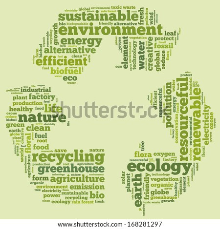 Conceptual tag cloud in the shape of the recycle symbol on white containing words related to ecology, environment, pollution, renewable resources, recycling, conservation, efficiency...  - stock photo