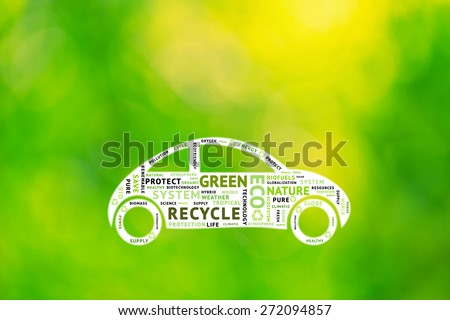 Conceptual tags or words cloud on illustrated blurry white car shape background and bokeh sunny yellow green background. Containing words related to green; ecology, environment, etc. illustration. - stock photo
