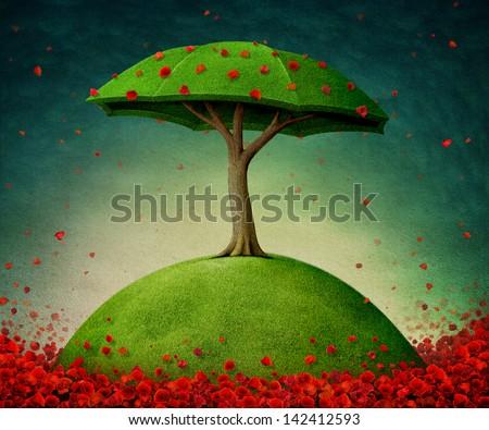 Conceptual tree, installation, poppies, umbrella. - stock photo